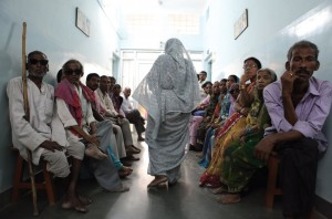 Patients waiting to be examined along the corridors of the Akhand Jyoti Eye Hospital, Bihar, India.Cataract surgery is a relatively simple operation, taking approximately five to ten minutes. Vision is restored very quickly following the surgery; a patient usually recovers good vision on the second day. It is an extremely emotional experience to witness.