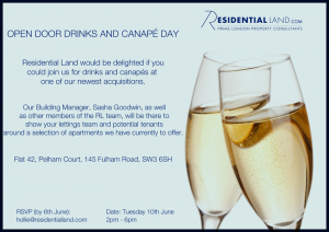 Residential Land host drinks reception on 10th June at one of their new properties on the Fulham Road